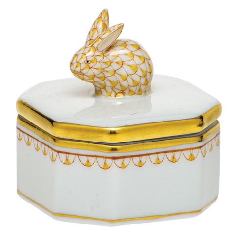 Herend Petite Octagonal Box with Bunny Finial, Butterscotch