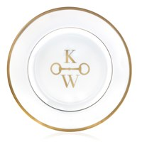Pickard Signature Ultra White Gold Monogram Salad Plate, Two Block Letters with Stirrup Center