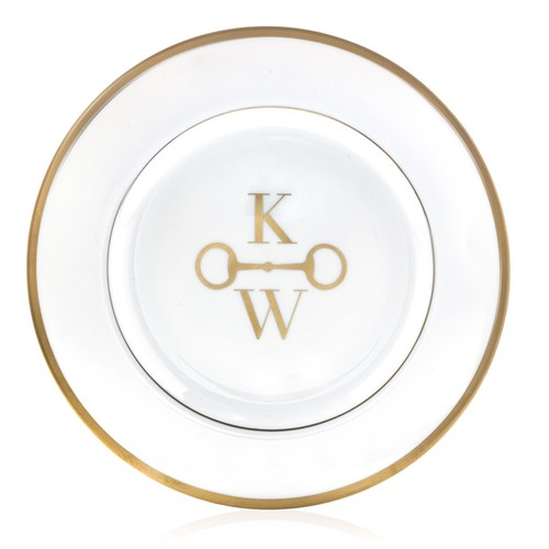 Pickard Signature Gold Monogram Salad Plate, Two Block Letters with Stirrup Center