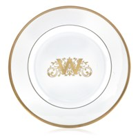 Pickard Signature Ultra White Gold Monogram Salad Plate, One Block Letter with Illumination Center