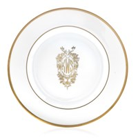 Pickard Signature Ultra White Gold Monogram Salad Plate, Three Block Letters with Stag Center