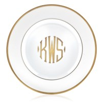 Pickard Signature Ultra White Gold Monogram Salad Plate, Three Block Letters Center