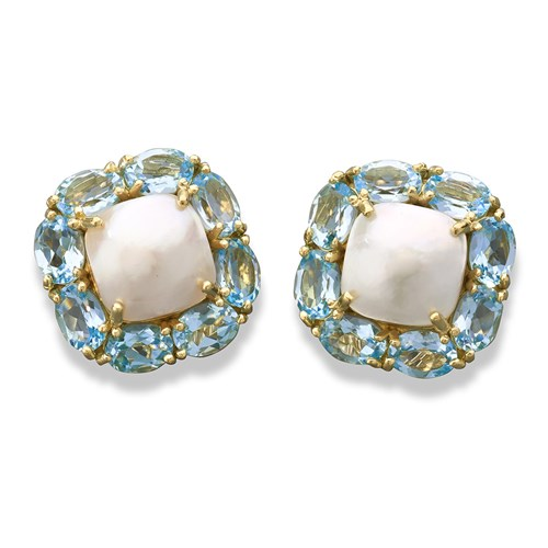 18k Gold Blue Topaz & Pearl Cushion Earrings, Clips
