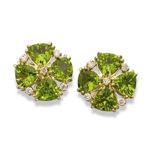 18k Yellow Gold Peridot Earrings with Diamonds, Clips
