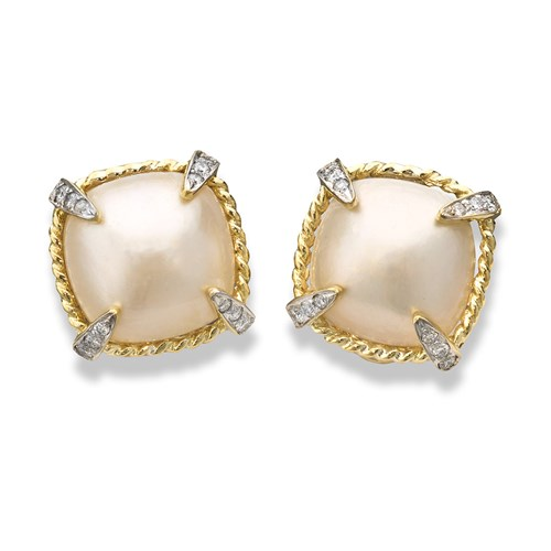 18k Gold Mabe Pearl Diamond Earrings, Clips