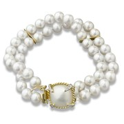 18K Yellow Gold Mabe Pearl Diamond Pearl Bracelet