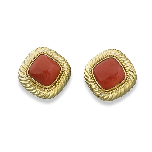18k Gold Rope Twist Coral Earrings, Clips