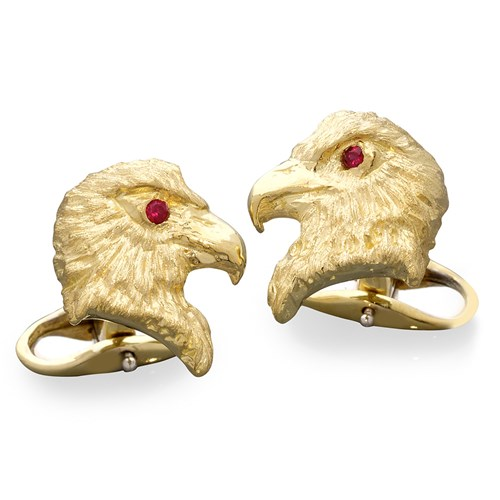 18K Yellow Gold Eagle Cufflinks with Ruby Eyes