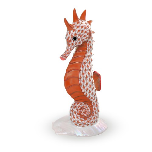 Herend Seahorse on Scallop Shell, Rust