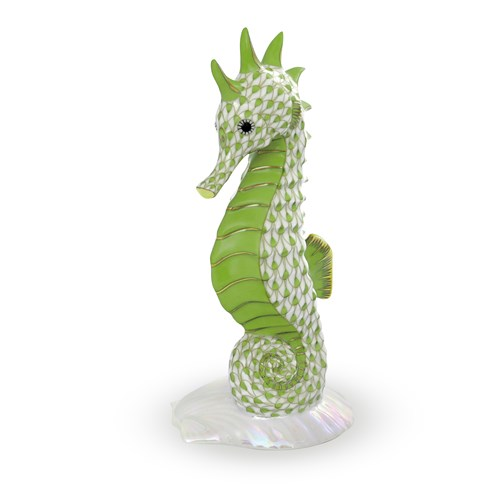 Herend Seahorse on Scallop Shell, Key Lime