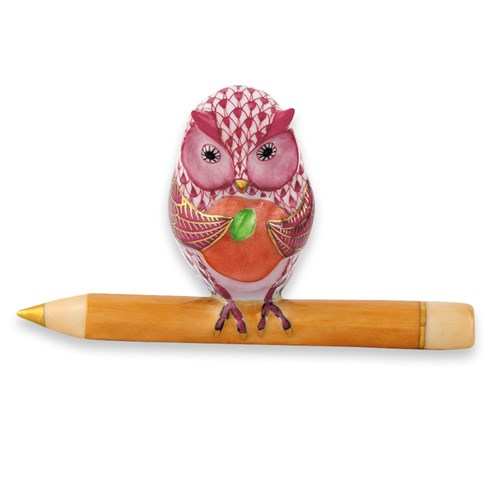 Herend Owl Teacher, Raspberry