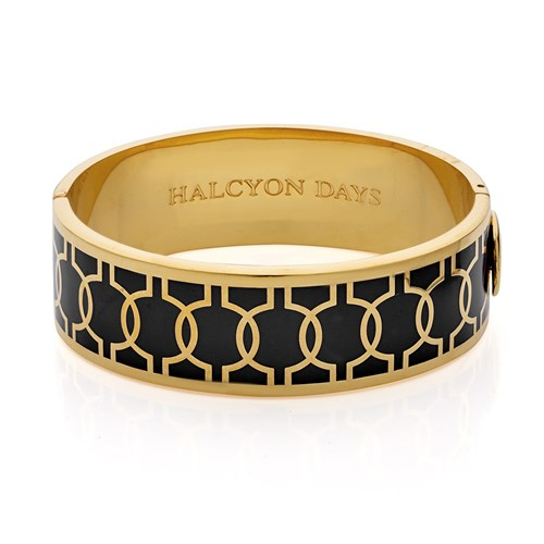Halcyon Days Geometric Hinged Bangle, Black & Gold