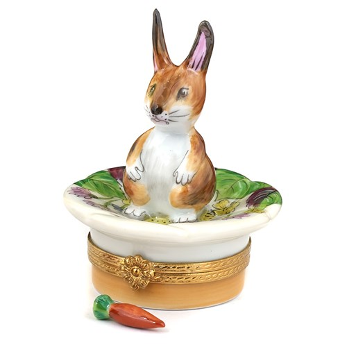 Brown Bunny on Leaf Limoges Box
