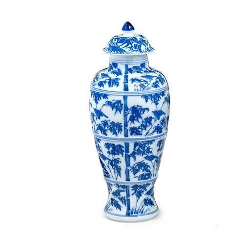Mottahedeh Blue & White Bamboo Covered Jar