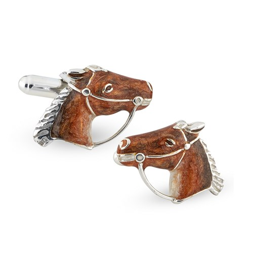 Sterling Silver & Enamel Horse Head Cufflinks
