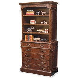Mahogany Executive Filing Cabinet with Bookcase