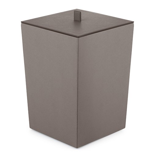 Smoke Grey Leather Wastebasket with Lid