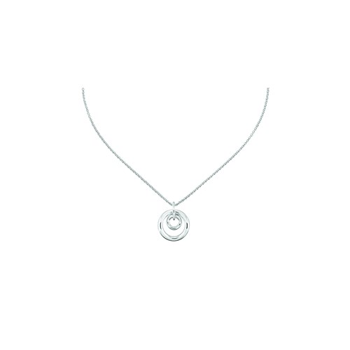 Christofle Sterling Silver Double Circle Pendant Necklace