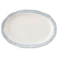 Juliska Sitio Stripe Indigo Oval Serving Platter