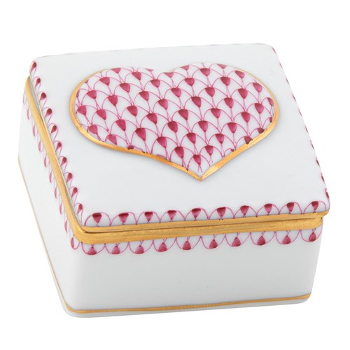 Herend Embossed Heart Box, Raspberry