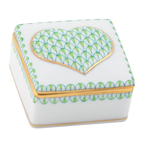Herend Embossed Heart Box, Key Lime