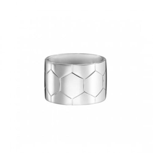 Christofle Code Royale Sterling Silver Hexagon Print Wide Band