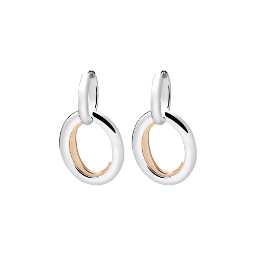 Christofle C de Christofle Sterling Silver & Gilted Rose Gold Pendant Earrings