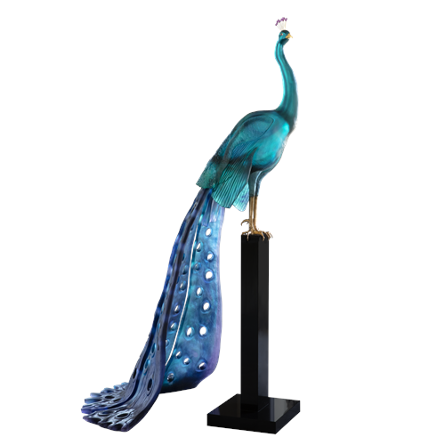 Daum Crystal Tropical Peacock, Limited Edition