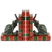 Leather Books Bookends with Elephants