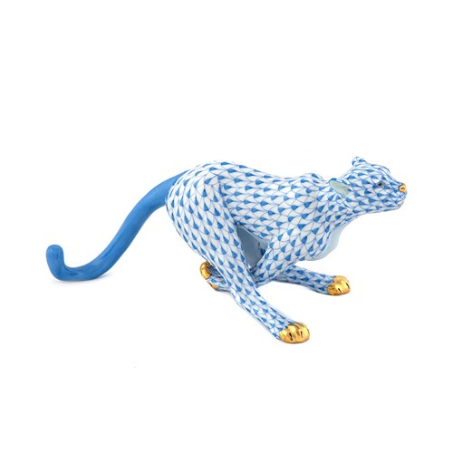 Herend Small Cheetah, Blue