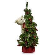 Ivory Bear and Classic Christmas Tree Tabletop Decor