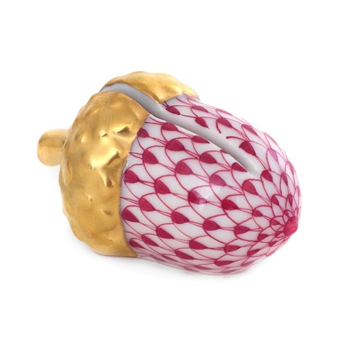 Herend Acorn Place Card Holder, Raspberry