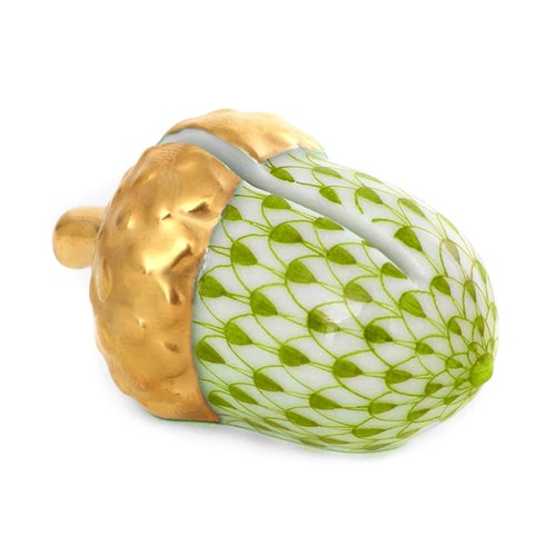 Herend Acorn Place Card Holder, Key Lime