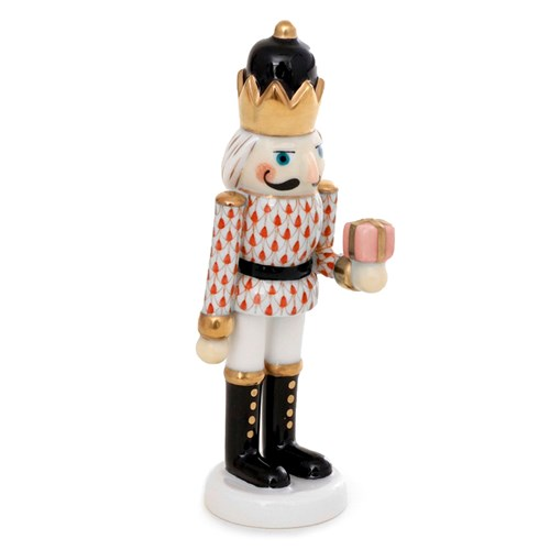 Herend Nutcracker with Gift, Rust