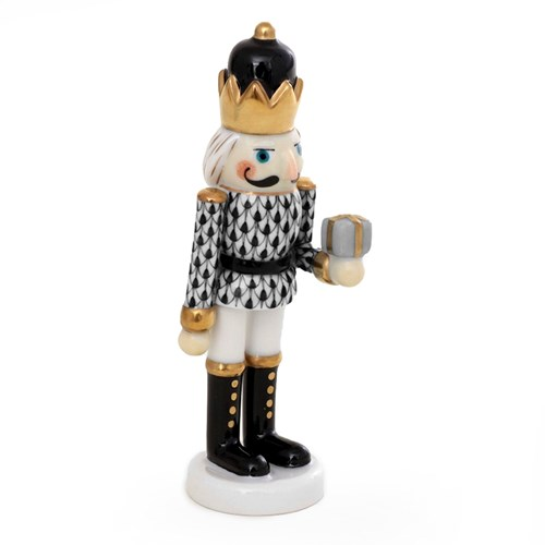 Herend Nutcracker with Gift, Black