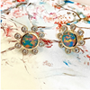 18k Yellow Gold Australian Boulder Opal & Diamond Earrings
