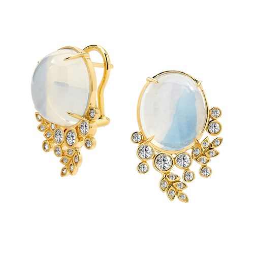 18k Gold Moon Quartz & Diamond Floral Earrings, Clips