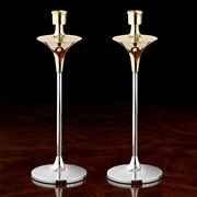Sterling Silver & Gold Top Candlesticks
