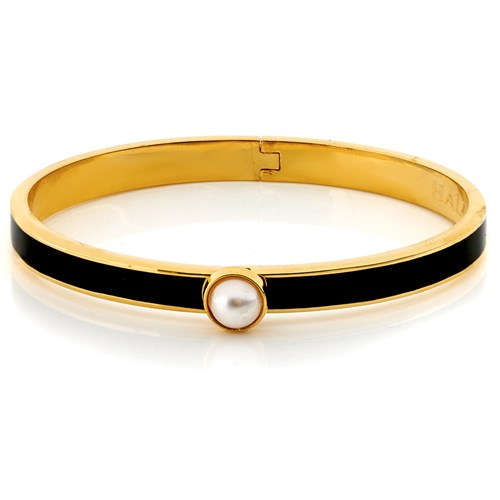 Halcyon Days Skinny Cabochon Pearl Hinged Bangle, Black