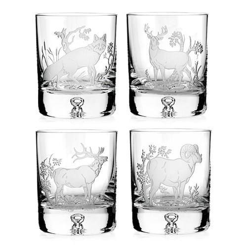 Julie Wear American Wildlife Double Old Fashioned, Set of 4