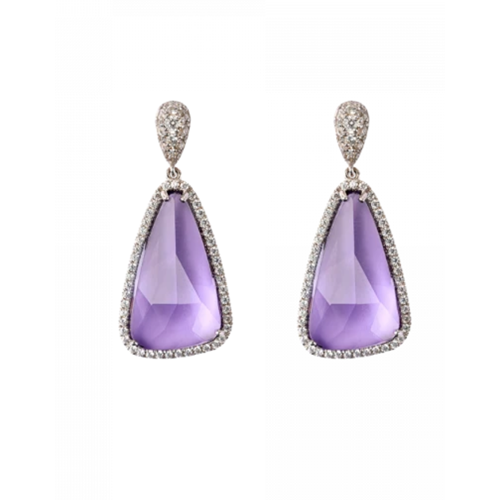 Daum Crystal Éclat de Daum Earrings, Violet