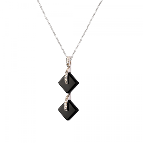Daum Crystal Eclipse Double Black Pendant