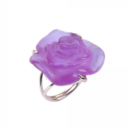 Daum Crystal Rose Passion Silver Ring, Ultraviolet