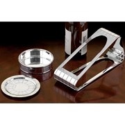 Christofle Graphik Silverplated Wine Coasters & Stand
