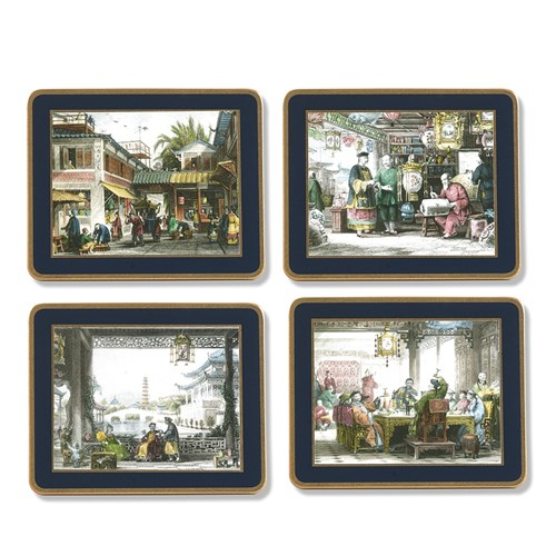 Chinese Engraving Coasters, Set of 4