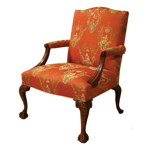 Mahogany Presidential Fireside Chair, Fabric