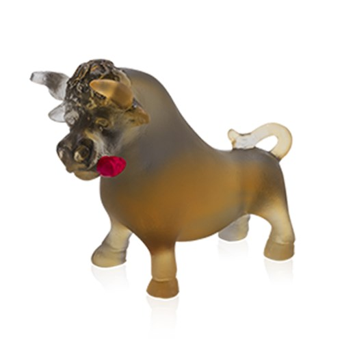 Daum Crystal Horoscope Ox with Rose