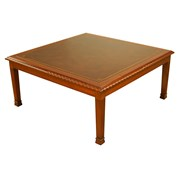 Leather Top Mahogany Square Coffee Table