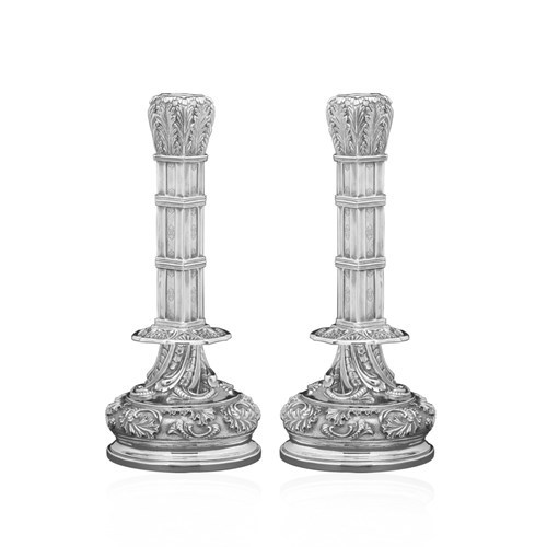 Buccellati English Sterling Silver Candlesticks, Pair