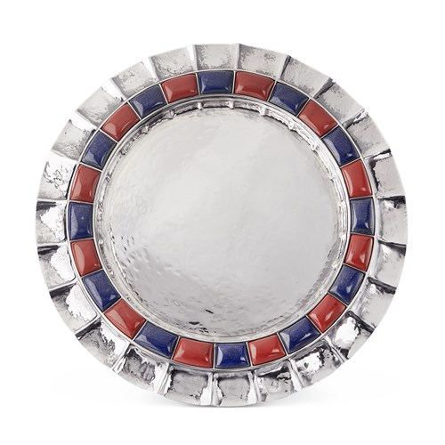 Buccellati Doge Sterling Silver Red Jasper and Lapis Plate